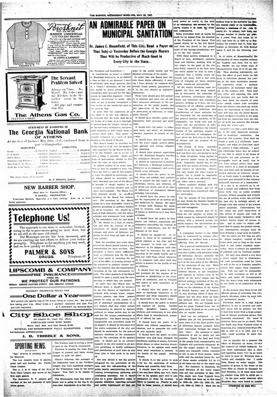 Athens Banner Newspaper article from May 29, 1907 discussing sanitation and infectious disease