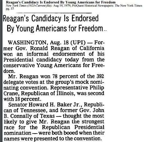 Reagan  candidacy endorsed by Young Americans for Freedom