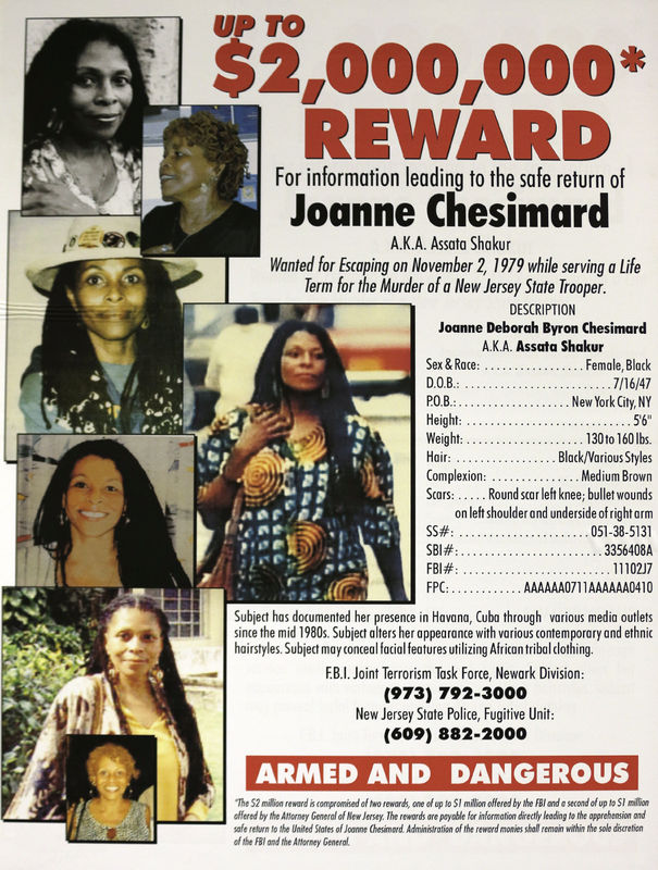 Wanted poster for the reward of the capture of Assata Shakur