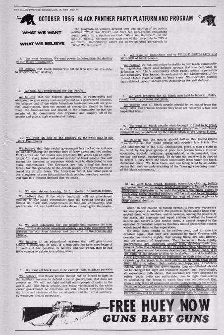 October 1966 Black Panther Party Platform and Program