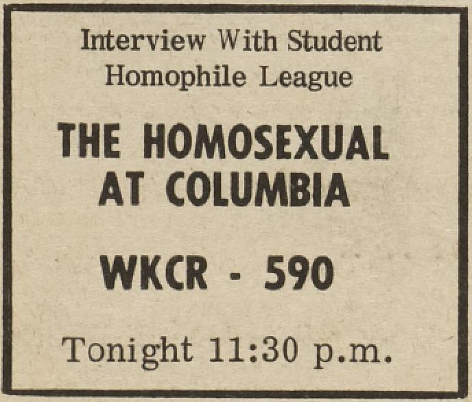 Student Homophile League Ad.