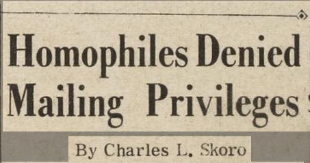 Homophiles Denied Mailing Privileges