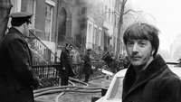 Dustin Hoffman outside of Greenwich Village explosion