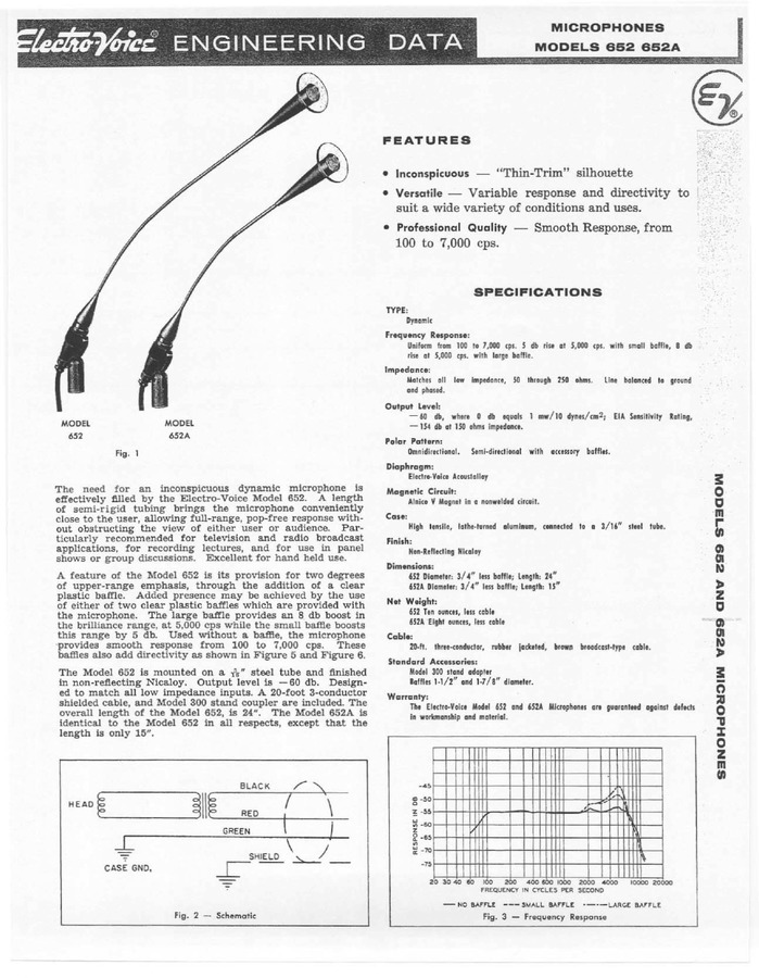 Electro-Voice 652 & 652A Engineering Data Sheet