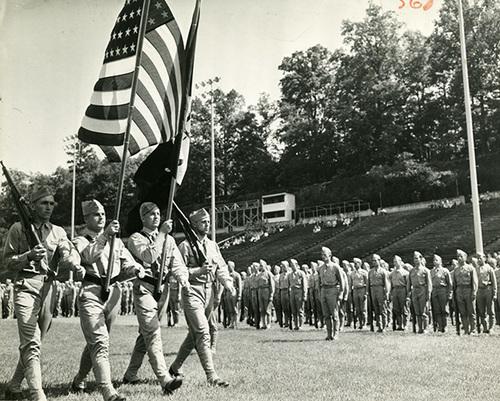 U.S. Navy Cadets Parade in Sanford Stadium
